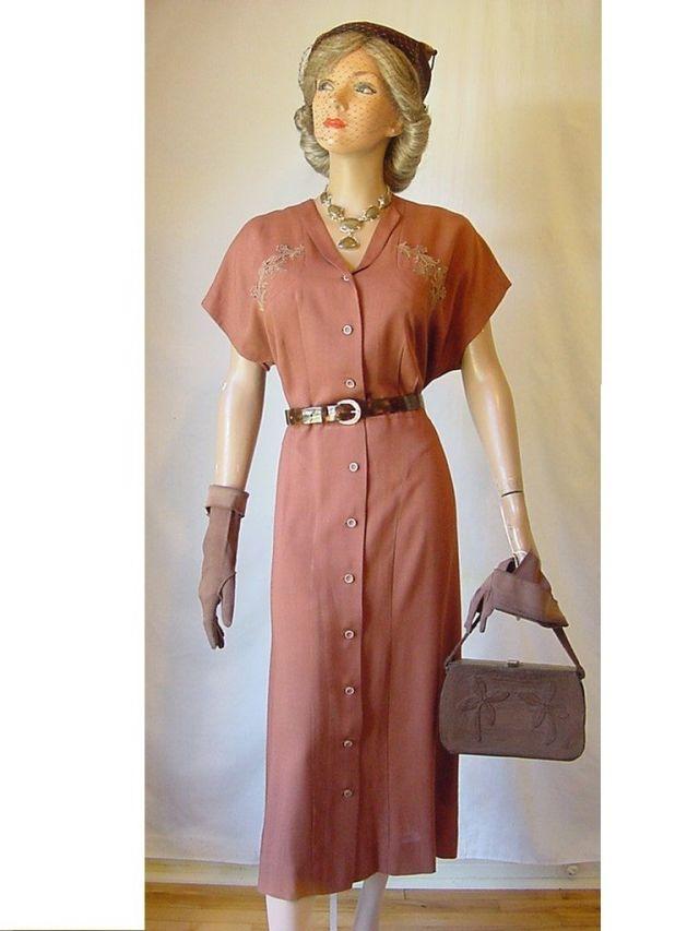 40s rust dress